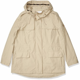 Calvin Klein Women's Rain Anorak Cotton Jacket with Snap and Zip Closure