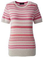Lands' End Women's Tall Supima Short Sleeve Jacquard Sweater-Black/Warm Canvas Plaid
