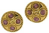 Chanel Gripoix Button Earrings