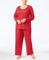 Charter Club Plus Size Printed Knit Pajama Set, Created for Macy's