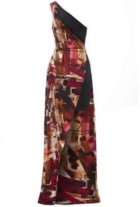Sarvin Claret One shoulder Side Slit Print Dress