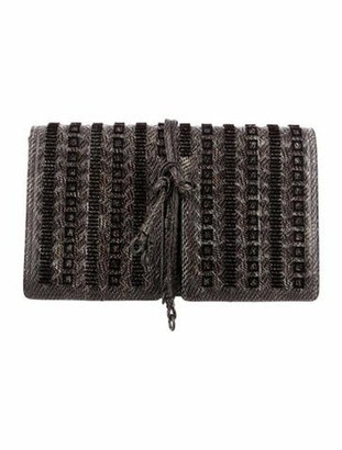 Bottega Veneta Convertible Intrecciato Snakeskin Tie Clutch Brown