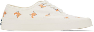 MAISON KITSUNÉ White Allover Fox Head Sneakers