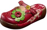 Liveinu Women's Floral Swedish Wooden Clogs in 40