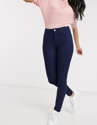 JDY Penny high waisted skinny jeans in dark blue