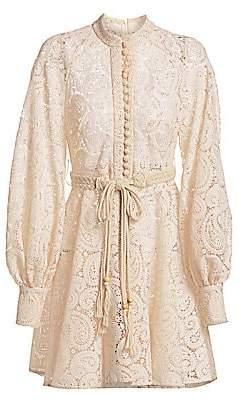 Zimmermann Women's Amari Paisley Lace Puff-Sleeve Dress