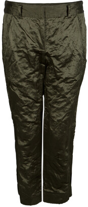 Vera Wang Olive Green Slipper Satin Tapered Trousers M