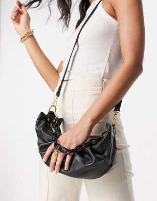 Ego x Molly Mae shoulder bag with chunky chain straps in black