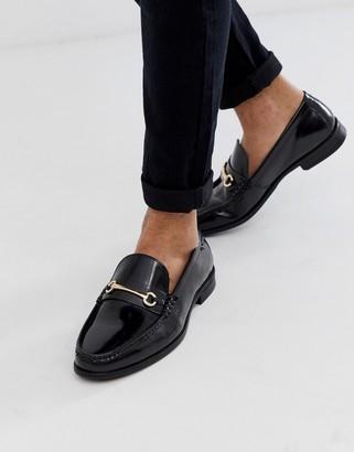 Ben Sherman wide fit metal bar leather loafer in black