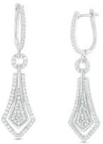 Zales 3/4 CT. T.W. Diamond Geometric Drop Earrings in 10K White Gold