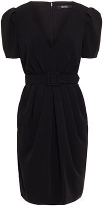 Badgley Mischka Belted Pleated Crepe Dress