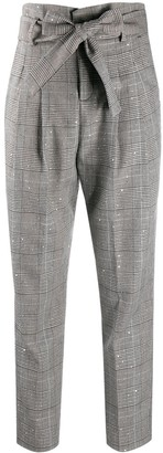 Liu Jo Prince of Wales check tied trousers