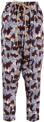Alysi High-Rise Floral-Print Cropped Trousers