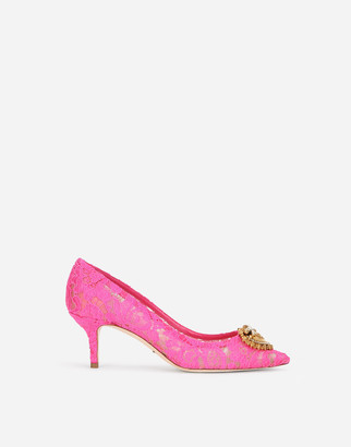 Dolce & Gabbana Taormina Lace Pumps With Devotion Heart