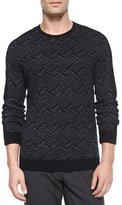 Vince Chevron-Print Crewneck Sweater, Charcoal