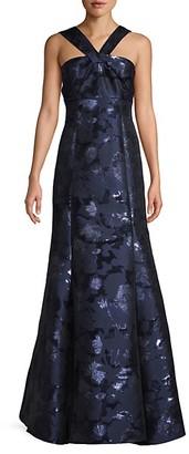 Aidan Mattox Halterneck Metallic Floral Trumpet Gown