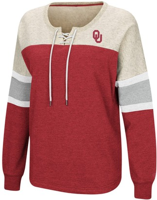 Colosseum Women's Crimson Oklahoma Sooners Become Great Lace-Up Pullover Fleece Sweatshirt