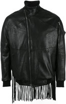 Julius fringed leather bomber jacket
