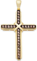 Macy's Men's Brown Diamond Cross Pendant (1/2 ct. t.w.) in 10k Gold