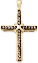 Macy's Men's Brown Diamond Cross Pendant (1/2 ct. t.w.) in 10k Gold