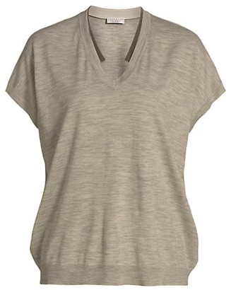 Brunello Cucinelli Wool & Cashmere Short-Sleeve Monili Knit T-Shirt