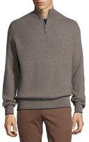 Stefano Ricci Cashmere Half-Zip Sweater, Gray