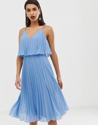 Asos DESIGN Pleated crop top midi dress