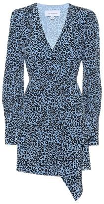 Les Rêveries Leopard-print silk mini wrap dress