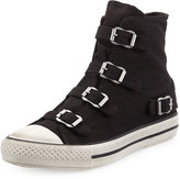 Ash Virgin Buckled Canvas Sneaker, Black