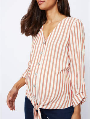 George Maternity Red Stripe Tie Front Button Down Blouse