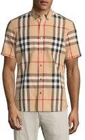 Burberry Linen-Blend Exploded Check Short-Sleeve Shirt, Camel