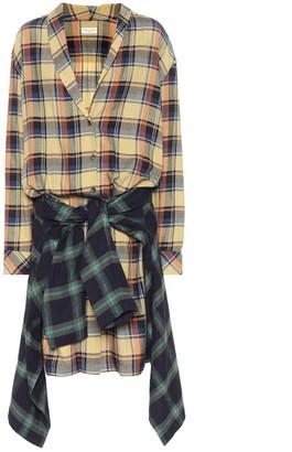 Dries Van Noten Checked cotton midi shirt dress