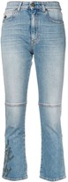 Mr & Mrs Italy embroidered cropped jeans