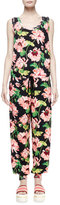 Stella McCartney Sleeveless Floral-Jacquard Jumpsuit, Dark Floral