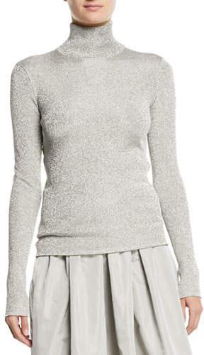 Ralph Lauren Turtleneck Long-Sleeve Metallic-Knit Sweater