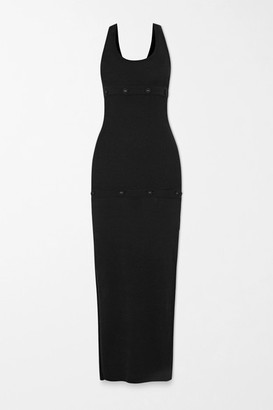 CHRISTOPHER ESBER Convertible Button-embellished Ribbed-knit Maxi Dress - Black