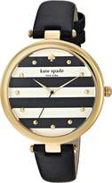 Kate Spade Women's 'Varick' Quartz Stainless Steel and Leather Casual Watch, Color:Black (Model: KSW1374)