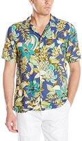 Caribbean Joe Men's Slim Fit Short Sleeve Button Up Floral Rayon Hawaiian Shirt