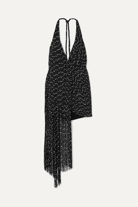 Jacquemus Valoria Wrap-effect Fringed Boucle Halterneck Mini Dress - Black