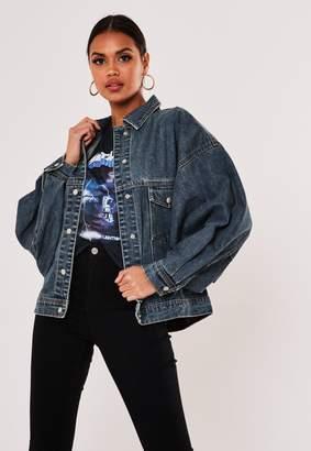 Missguided Blue 80S Batwing Oversized Denim Jacket