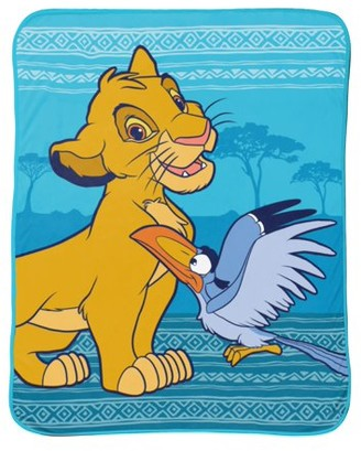 "The Lion King Disney Lion King 46""x60"" Soft Microfiber Blue Kids Throw w/ Simba and Zazu"