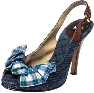 Dolce & Gabbana Blue Denim And Check Fabric Bow Embellished Slingback Sandals Size 37