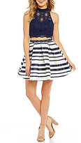 Sequin Hearts Lace to Striped Skirt Two-Piece Fit-and-Flare Dress