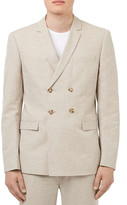 Topman Skinny Fit Cotton & Linen Double Breasted Suit Jacket