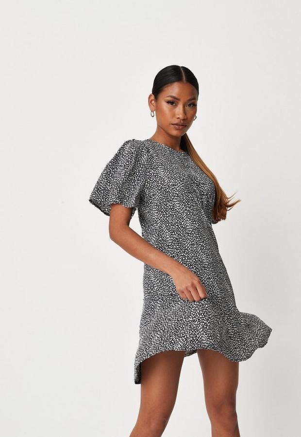 Missguided Black Dalmatian Print Short Sleeve Mini Dress