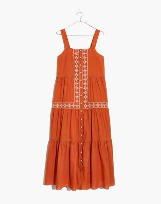 Madewell Embroidered Button-Front Tiered Midi Dress
