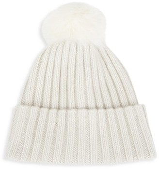 Saks Fifth Avenue Faux Fur Pom-Pom Ribbed Cashmere Beanie