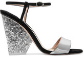 Paul Andrew + Edie Parker Metallic Leather And Suede Sandals - Silver