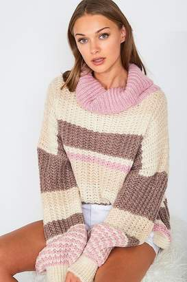 Vine & Love Striped Chunky Knit Turtleneck Sweater