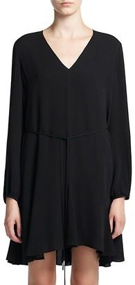 Theory Godet Silk V-Neck Shift Dress